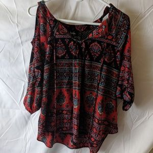 By & By women's red with flower pattern blouse